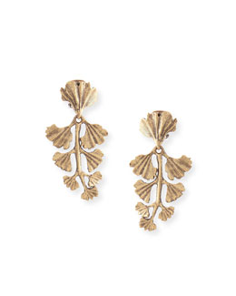 Gold-Plated Fern Clip Earrings