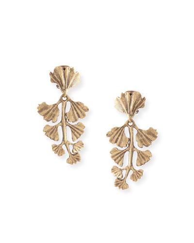 Gold-Plated Fern Clip Earrings
