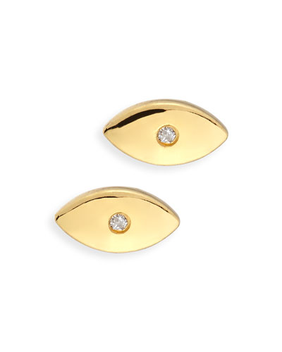 Evil Eye Diamond Stud Earrings
