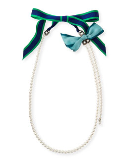 Long Pearly Necklace with Multicolor Grosgrain