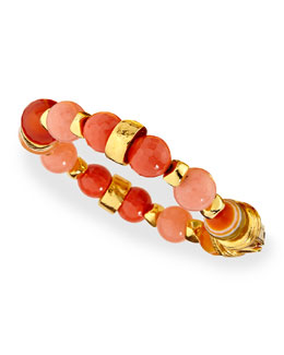 Gold-Plated Beaded Shell Bracelet