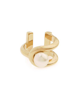 Gold-Plated Pearly Ring