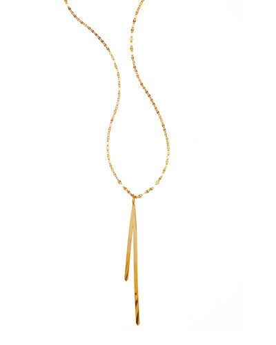 14k Elite Bar Reflector Pendant Necklace