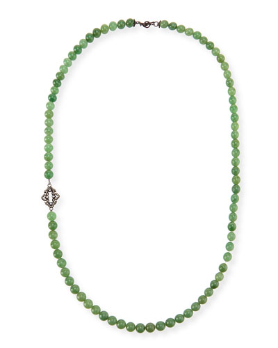 Old World Mossy Aventurine Bead Necklace, 36