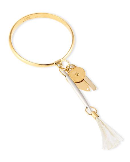 Wide Ostrich Feather Bangle Bracelet