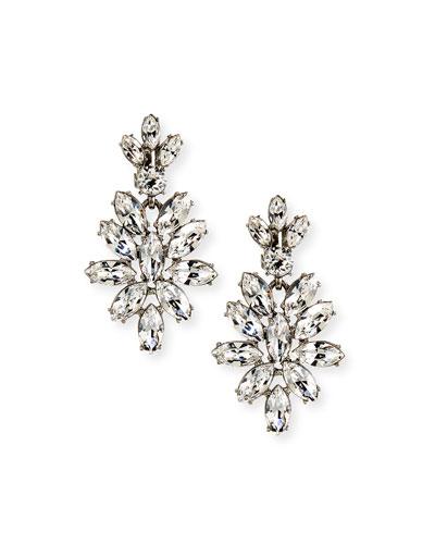 Navette Crystal Drop Clip Earrings