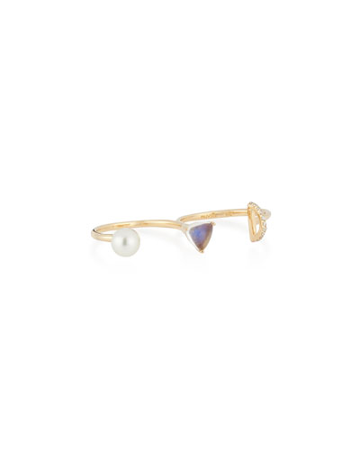 Marta 14k Moonstone Double Ring