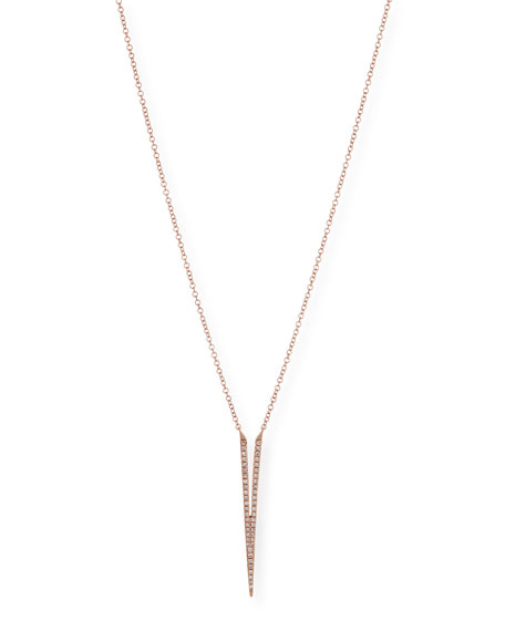 Split Dagger Diamond Pendant Necklace, Rose Gold