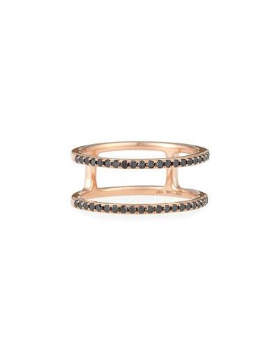 Black Diamond Double Spiral Ring