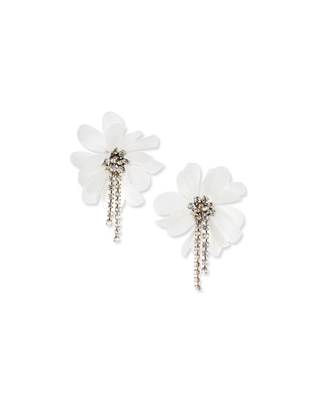Lanvin Flower and Crystal Chain Clip Earrings, Ivory