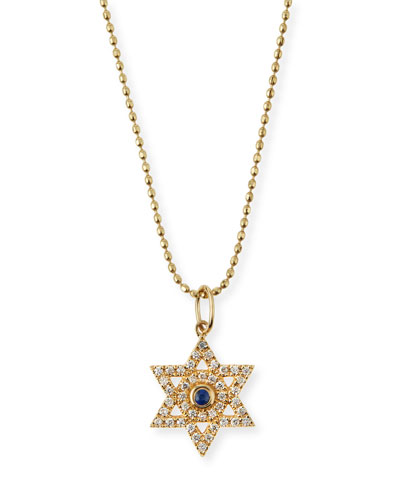Diamond & Sapphire Star of David Necklace