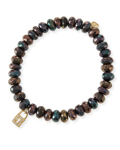 8mm Faceted Brown Mystic Pyrite Beaded Bracelet w/14k Gold Padlock Charm