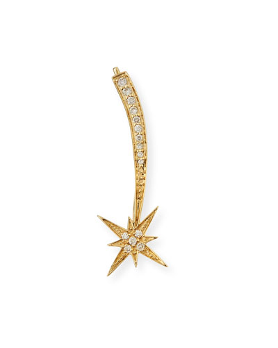 14K Gold Shooting Star Diamond Ear Climber