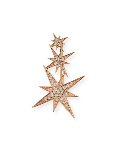 14K Rose Gold Triple Diamond Starburst Earring