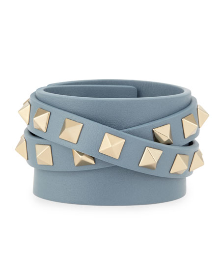 Leather Rockstud Wrap Bracelet