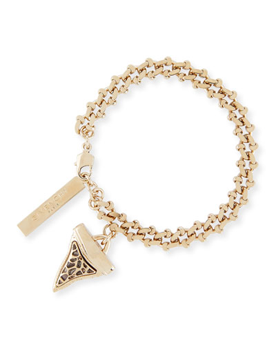 Small Golden Shark Tooth Charm Bracelet