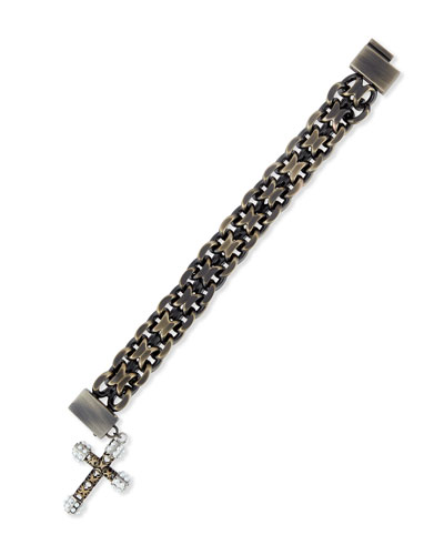 Pearly Chain Cross Bracelet