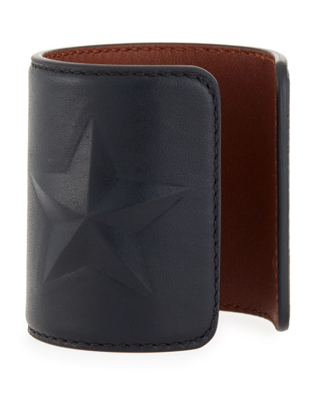 Star Leather Cuff Bracelet, Black
