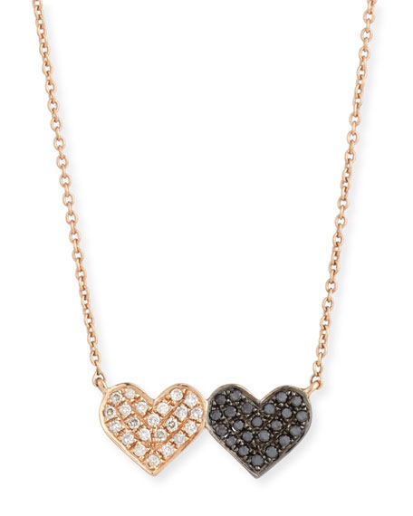 14k Rose Gold Double-Heart Pendant Necklace w/ Two-Tone Diamonds