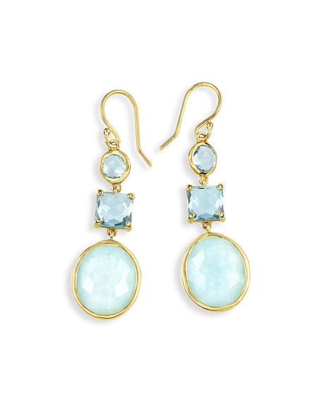 18K Rock Candy Three-Drop Earrings in Waterfall