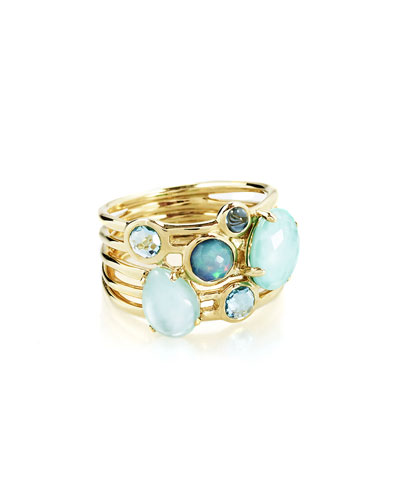 18k Gold Rock Candy Gelato 6-Stone Cluster Ring in Waterfall, Size 7