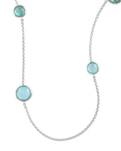 Sterling Silver Lollipop Station Necklace in Blue Star, 40
