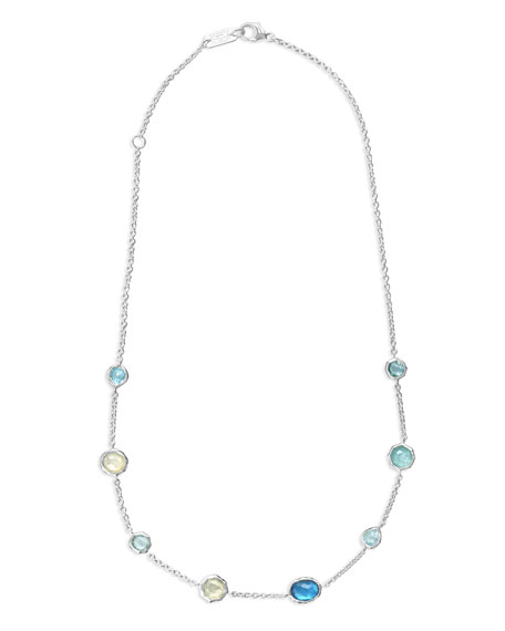 Sterling Silver Wonderland Mini Gelato Short Station Necklace in Blue Star, 16-18