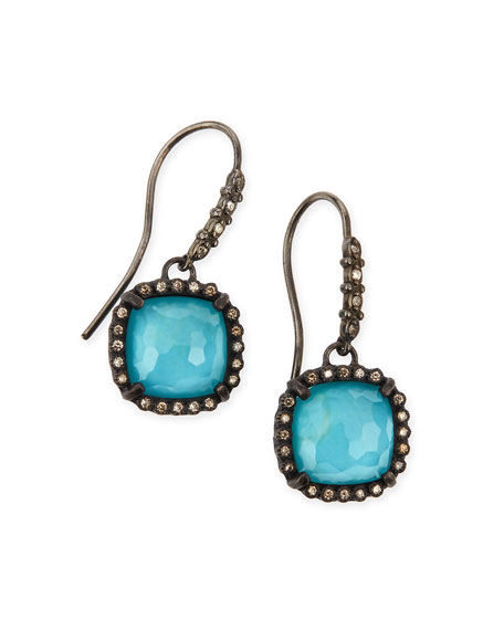 Old World Midnight Cushion Doublet Earrings with Diamonds