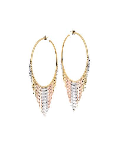 Large Three-Tone Fringe Hoop Earrings