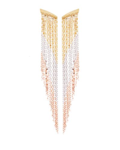 Three-Tone Fringe Duster Earrings