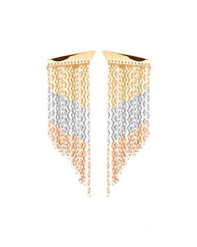 Short Three-Tone Fringe Duster Earrings