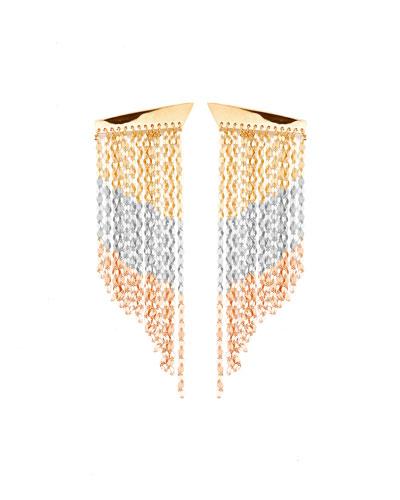 Short Three-Tone Fringe Duster Earrings