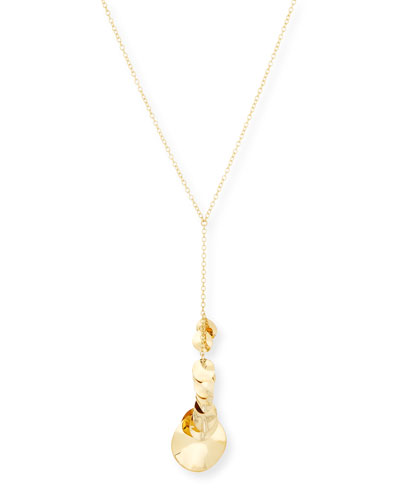 18K Gold Glamazon Disc Y-Pendant Necklace