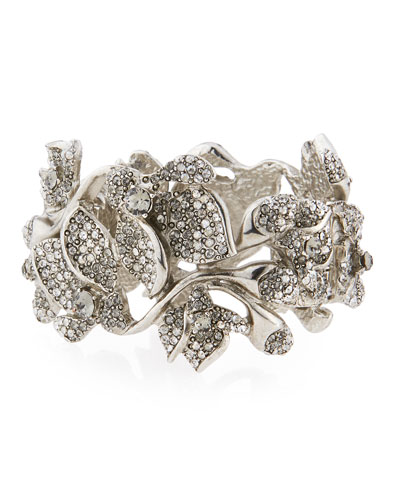 Gradient Crystal Flower Bracelet, Black