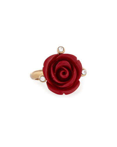 Resin Rose & Crystal Ring