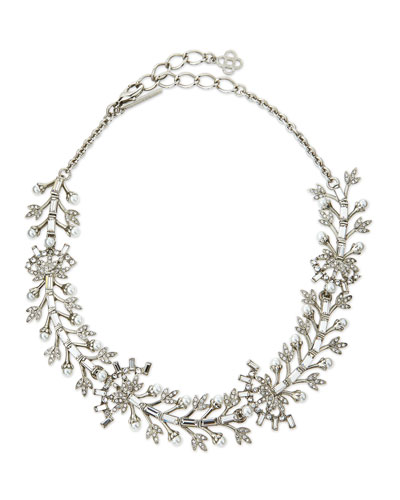 Crystal Baguette Leaf Necklace