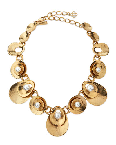 Pearly Golden Disc Station Necklace