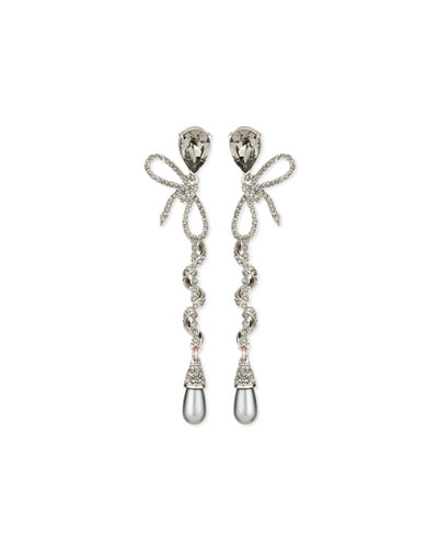 Pavé Spiraled Crystal Bow Earrings