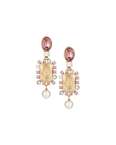 Bold Crystal Pearly Drop Earrings