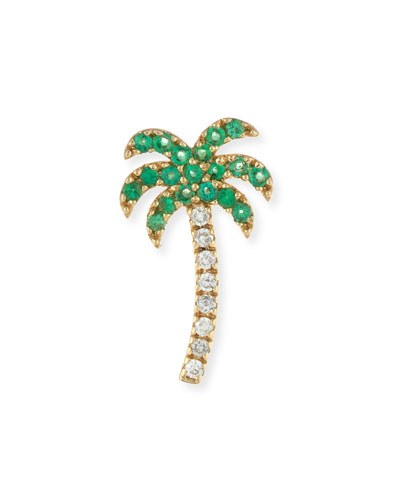 Pavé Diamond & Green Garnet Palm Tree Single Stud Earring