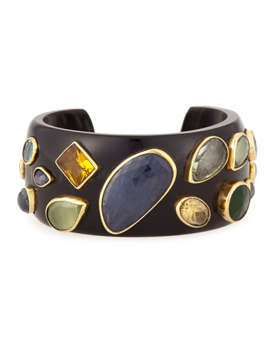 Ungana Mixed Stone Cuff Bracelet, Dark Horn