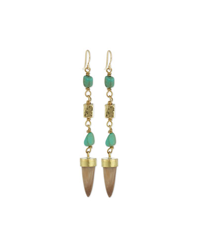 Uti Light Horn & Turquoise Drop Earrings