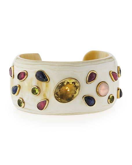 Ashley Pittman Ungana Mixed Stone Cuff Bracelet, Light