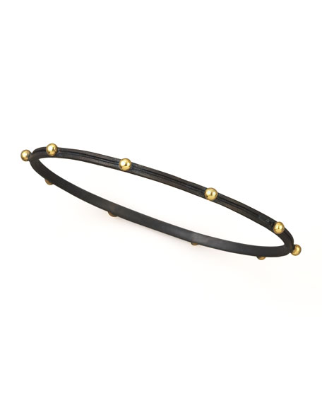 BLK BANGLE W GOLD STUDS
