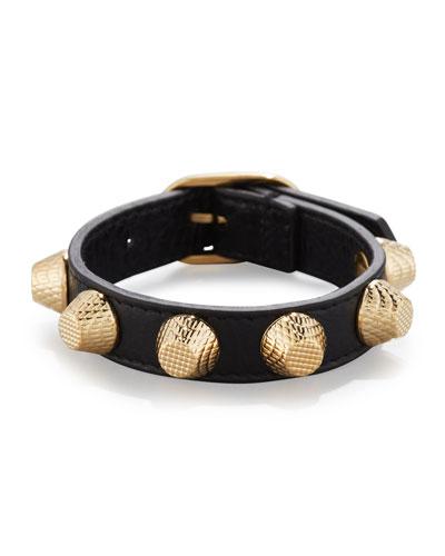 Giant Leather Golden Stud Bracelet