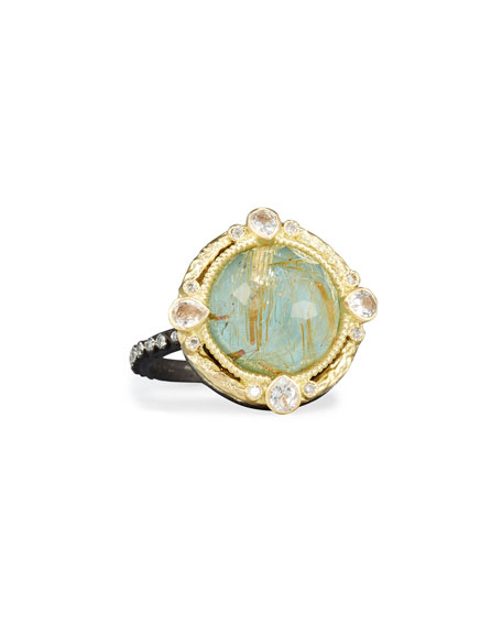 Image 1 of 1: Old World Midnight Turquoise & Quartz Doublet Ring with Diamonds