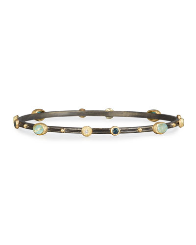 Old Word Midnight Turquoise & Quartz Bangle with Diamonds