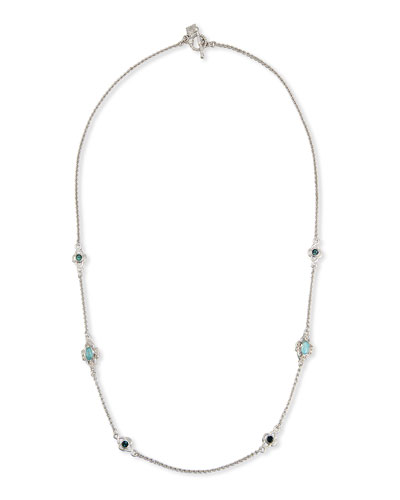 New World Turquoise & Quartz Doublet Station Necklace with Diamonds