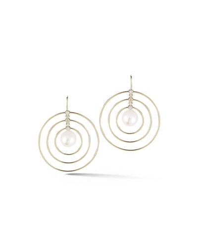 14K Concentric Diamond & Pearl Drop Earrings