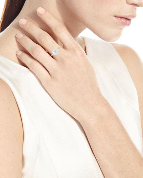 14K Gold Open Diamond & Pearl Ring